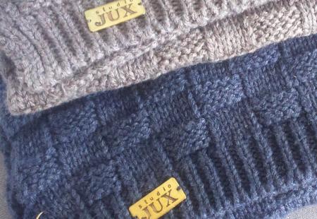 Studio Jux - Bonnet écharpe taupe et bleu 4