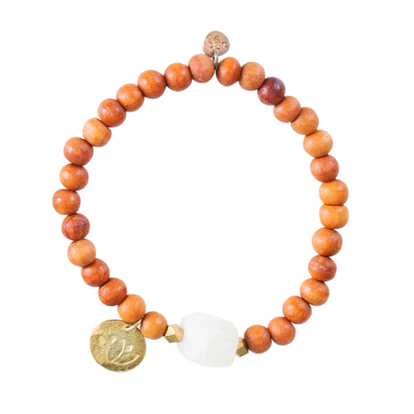 A beautiful story - BL22369-Namaste Moonstone Lotus Coin Gold Bracelet