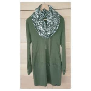 Uprise - Hood Dress Jungle Green (Wild Roses)