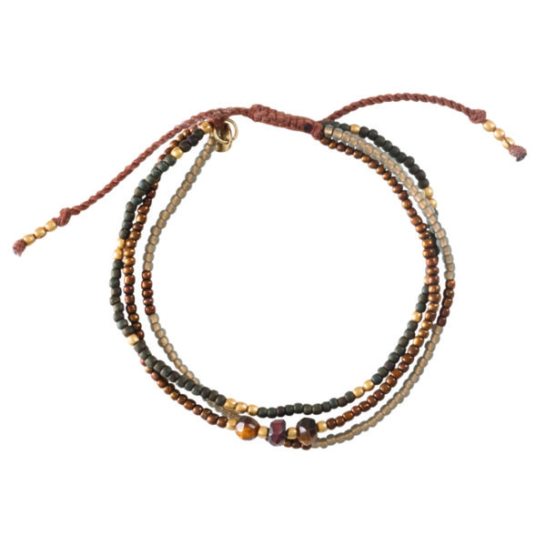 BL23360-Winter Mixed Tiger Eye Gold Bracelet