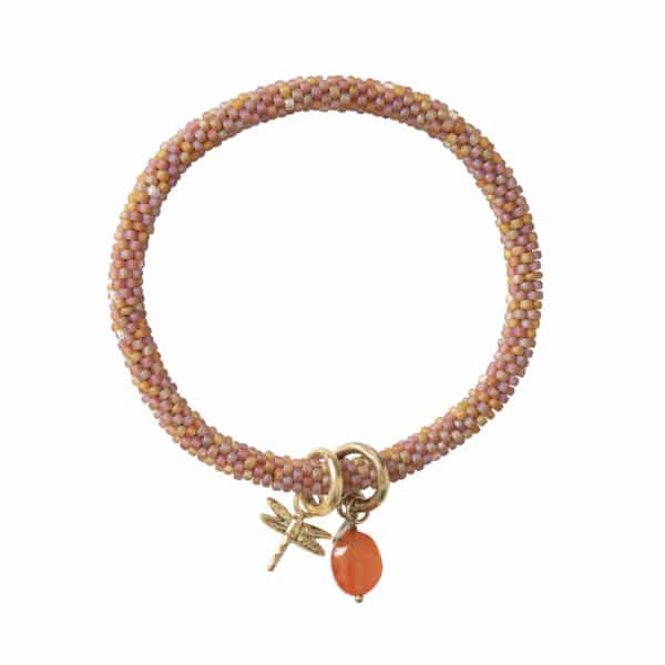 This bracelet consists of a combination of glass beads and Citrine gemstones on three strings of cotton thread. The bracelet has a sliding knot of cotton thread. The Citrine gemstone brings brightness and happiness in your life. Wear this gemstone for that little sparkle during exciting moments such as job interviews or exams. Dimension : 16-22 cm