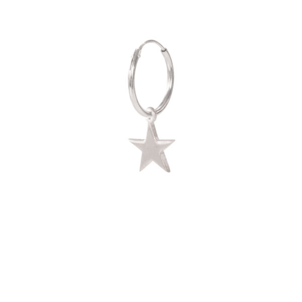 A Beautiful Story - ES1044-Big-Star-Sterling-Silver-Hoop-Earring